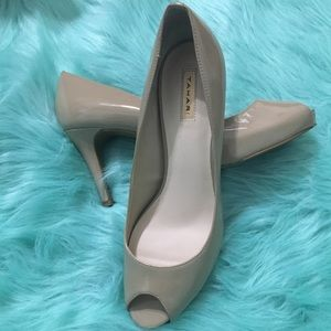 Tahari Patent Leather Peep Toe Pumps - Nude